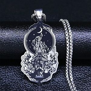 Gothic Silver Church Necklace